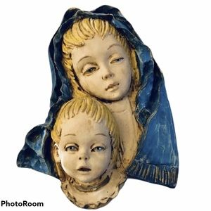 Other - Wood Carved Madonna & Child Wall Plaque